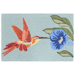 "Liora Manne Frontporch Hummingbird Indoor/Outdoor Rug - Blue, 20"" By 30"""