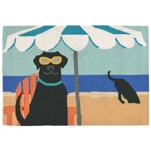 "Liora Manne Frontporch Dig In The Beach Indoor/Outdoor Rug - Blue, 20"" By 30"""