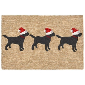 "Liora Manne Frontporch 3 Dogs Christmas Indoor/Outdoor Rug - Natural, 20"" By 30"""