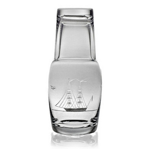 Clipper Ship Etched Bedside Carafe And Glass Set