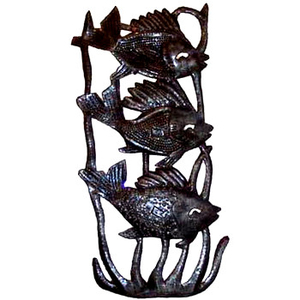 Three Vertical Fish Sculpture