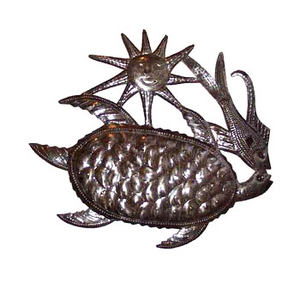 Turtle, Fish And Sun Metal Sculpture
