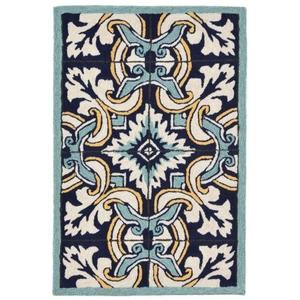 """Liora Manne Ravella Floral Tile Indoor/Outdoor Rug - Blue, 24"""" By 36"""""""