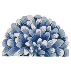 """Liora Manne Frontporch Mum Indoor/Outdoor Rug - Blue, 24"""" By 36"""" 1/2 Rd"""