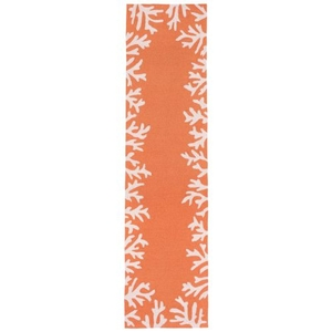 "Liora Manne Capri Coral Bdr Indoor/Outdoor Rug - Orange, 24"" By 8'"