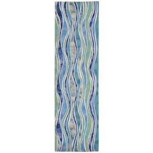"Liora Manne Visions Iii Wave Indoor/Outdoor Rug - Blue, 27"" By 8'"