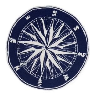 Liora Manne Frontporch Compass Indoor/Outdoor Rug - Navy, 3' Rd