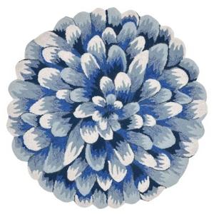 Liora Manne Frontporch Mum Indoor/Outdoor Rug - Blue, 3' Rd