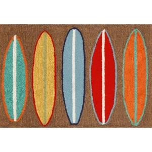 """Liora Manne Frontporch Surfboards Indoor/Outdoor Rug - Brown, 30"""" By 48"""""""