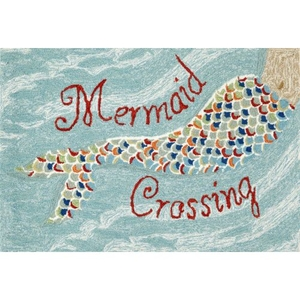 "Liora Manne Frontporch Mermaid Crossing Indoor/Outdoor Rug - Blue, 30"" by 48"""