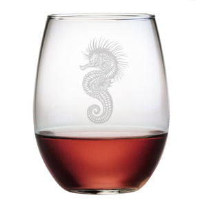 Seahorse Etched Stemless Wine Glass Set