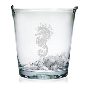 Seahorse Etched Ice Bucket
