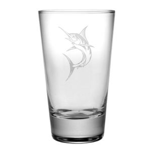 Marlin Hiballs, 15.5Oz.,  Etched Glass Set