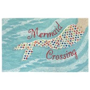 "Liora Manne Frontporch Mermaid Crossing Indoor/Outdoor Rug - Blue, 42"" By 66"""