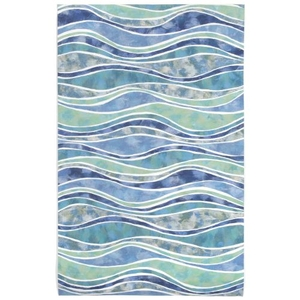 """Liora Manne Visions Iii Wave Indoor/Outdoor Rug - Blue, 42"""" By 66"""""""