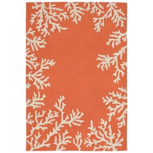 Liora Manne Capri Coral Bdr Indoor/Outdoor Rug - Orange, 5' By 7'6""