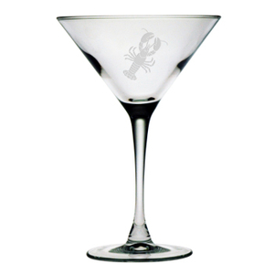 Lobster Etched Martini Glass Set