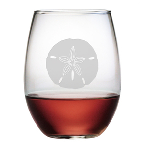 Sand Dollar Etched Stemless Wine Glass Set