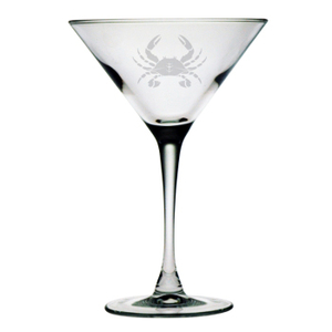 Crab Etched Martini Glass Set