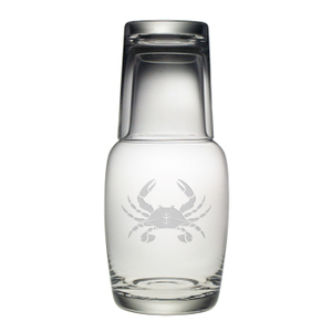 Crab Etched Bedside Carafe And Glass Set