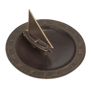 Sailboat Sundial Birdbath, French Bronze