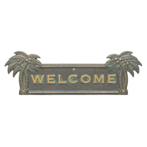 Palm Tree Welcome Plaque, Bronze Verdigris