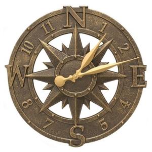 """16"""" Compass Rose Clock Indoor Outdoor, French Bronze"""
