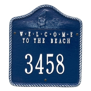 Personalized Welcome To The Beach Plaque, Blue/ White