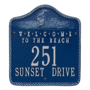 Personalized Welcome To The Beach Plaque, Blue / Silver