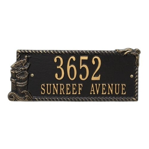Personalized Seagull Rectangle Plaque, Black / Gold