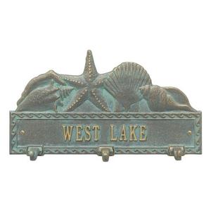 Personalized Sea Shell Hook Plaque, Bronze / Verdigris