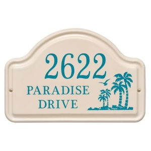 Personalized Palm Ceramic Arch, Bristol Plaque With Sea Blue Etching