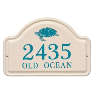 Personalized Turtle Ceramic Arch Plaque, Bristol Plaque With Sea Blue Etching