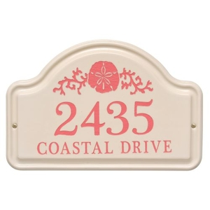 Personalized Sand Dollar Arch Plaque, Bristol Plaque With Coral Etching