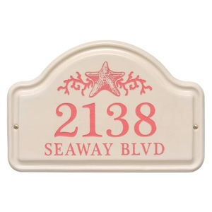 Personalized Star Fish Ceramic Arch Plaque, Bristol Plaque with Coral etching