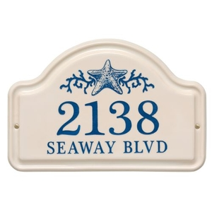 Personalized Star Fish Ceramic Arch Plaque, Bristol Plaque with Dark Blue etching