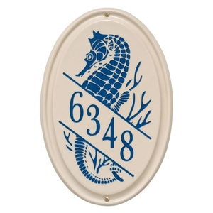 Personalized Sea Horse Ceramic Vertical Plaque, Bristol Plaque with Dark Blue etching