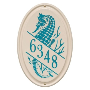 Personalized Sea Horse Ceramic Vertical Plaque, Bristol Plaque With Sea Blue Etching