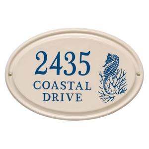 Personalized Sea Horse Ceramic Oval Plaque, Bristol Plaque With Dark Blue Etching