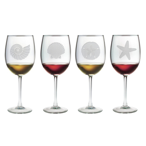 Seashore Etched Stemmed Wine Glass Mixed Set of 4