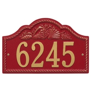 Personalized Rope Shell Arch Plaque Wall, Red / Gold