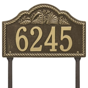 Personalized Rope Shell Arch Plaque Lawn, Antique Brass