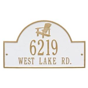 Personalized Adirondack Arch Plaque, White / Gold