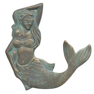 Mermaid Towel Hook (right), Bronze Verdigris
