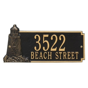Personalized Lighthouse Rectangle Plaque, Black / Gold