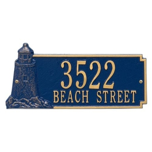 Personalized Lighthouse Rectangle Plaque, Blue / Gold