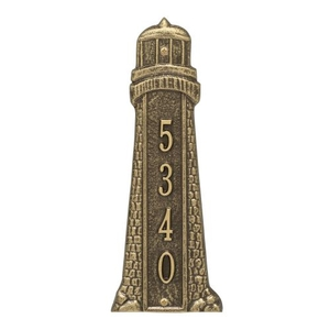 Personalized Lighthouse Vertical Plaque, Antique Brass