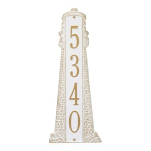 Personalized Lighthouse Vertical - Grande Plaque, White / Gold