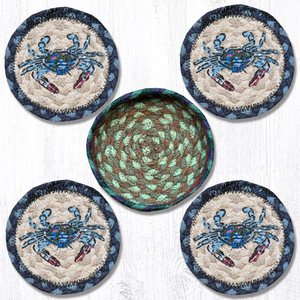 Blue Crab Jute Coaster Set