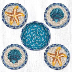 Starfish Scallop Jute Coaster Set